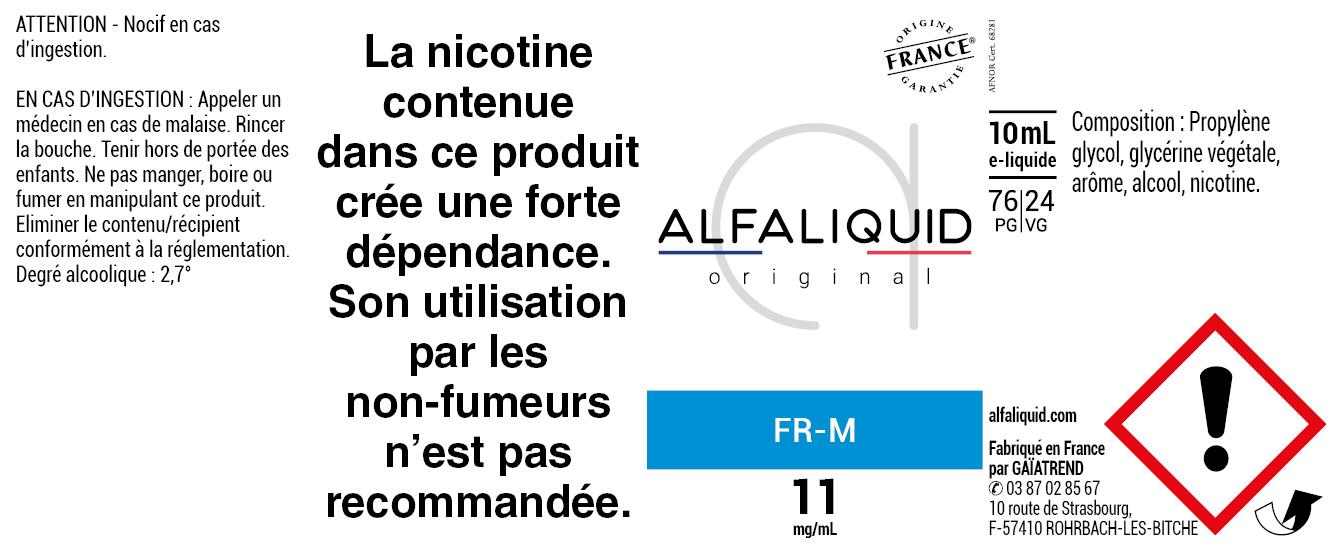 E-Liquide FR-M 10ml - ORIGINAL CLASSIQUE | Alfaliquid étiquette 11 mg
