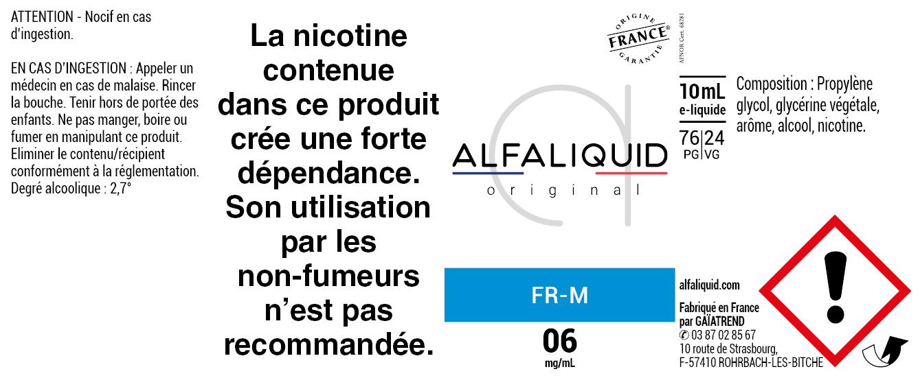 E-Liquide FR-M 10ml - ORIGINAL CLASSIQUE | Alfaliquid étiquette 6 mg