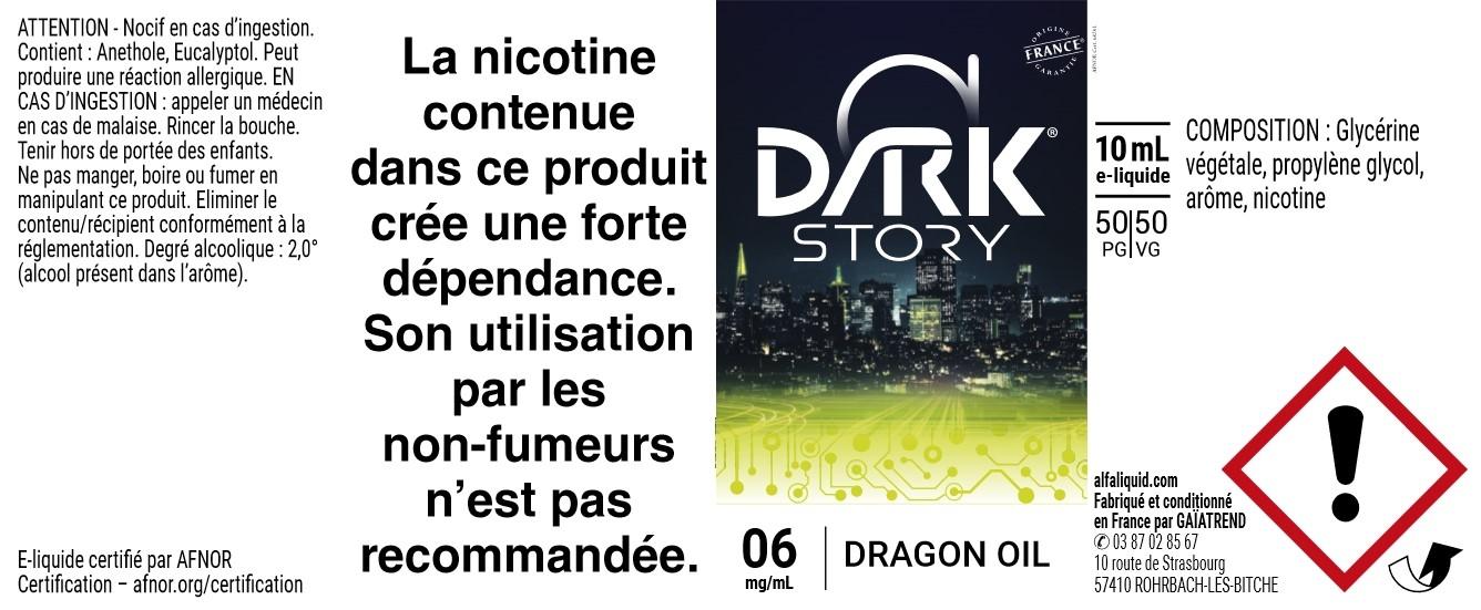 E-Liquide DRAGON OIL 10ml - Dark Story   Alfaliquid étiquette 6 mg