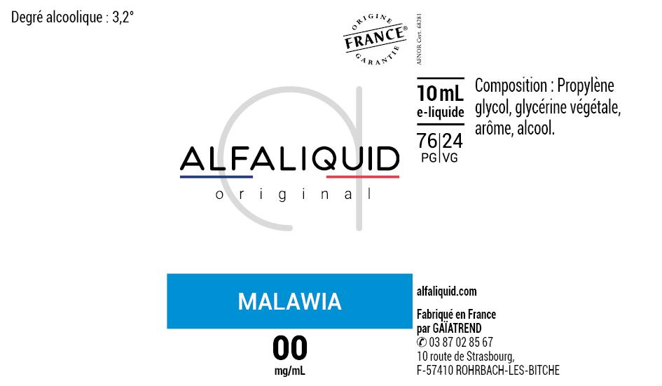 E-Liquide MALAWIA 10ml - Original Classique | Alfaliquid étiquette 0 mg