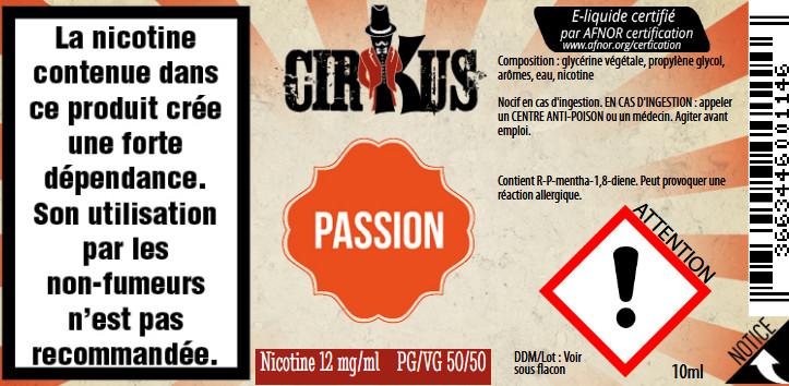 E-Liquide Passion 10ml 50/50 - Cirkus Authentic | Vincent Dans Les Vapes étiquette 12 mg