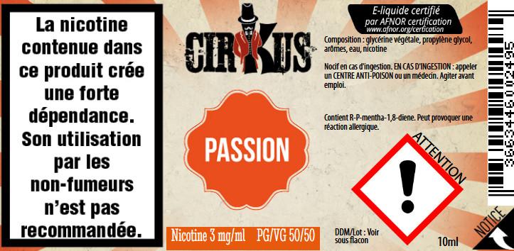 E-Liquide Passion 10ml 50/50 - Cirkus Authentic | Vincent Dans Les Vapes étiquette 3 mg