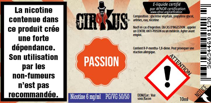 E-Liquide Passion 10ml 50/50 - Cirkus Authentic | Vincent Dans Les Vapes étiquette 6 mg