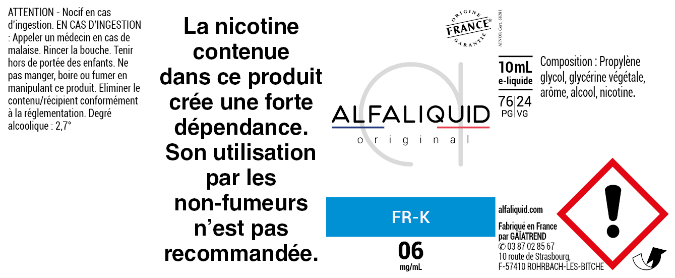 E-Liquide FR-K 10ml - Original Classique | Alfaliquid étiquette 6 mg