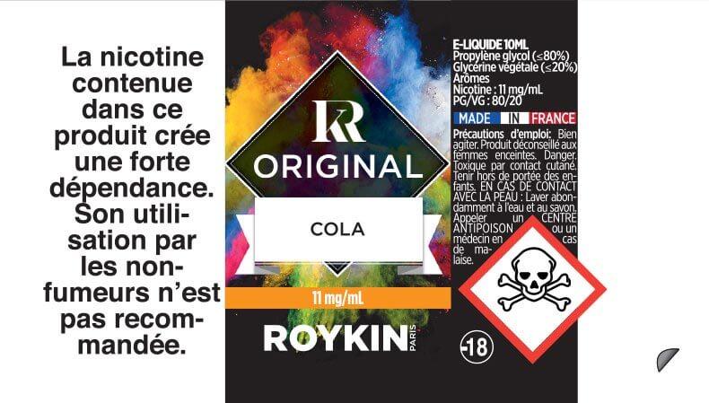E-Liquide COLA 10ml 80/20 - Original | Roykin étiquette 11 mg