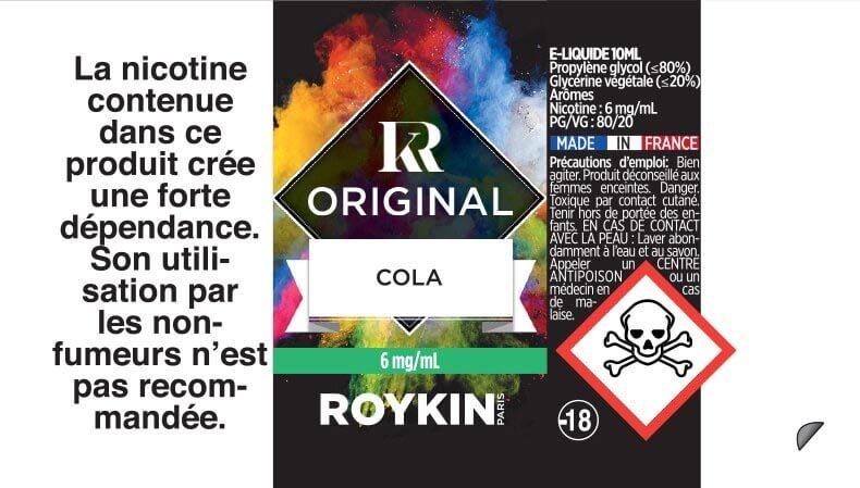 E-Liquide COLA 10ml 80/20 - Original | Roykin étiquette 6 mg