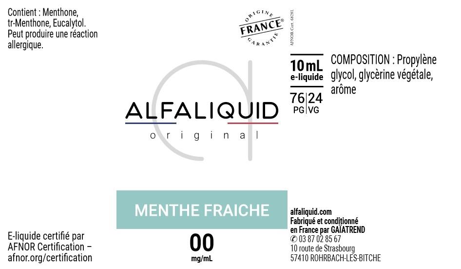 E-Liquide Menthe Fraîche 10ml - Original Fraicheur - Alfaliquid étiquette 0 mg
