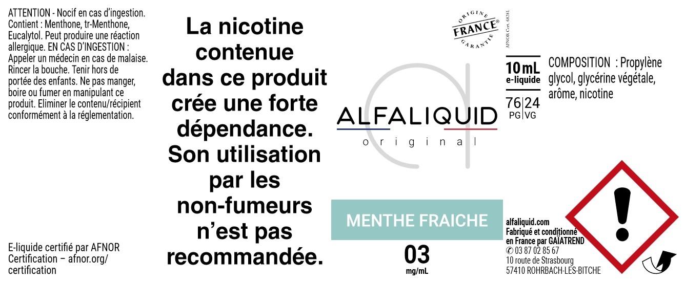 E-Liquide Menthe Fraîche 10ml - Original Fraicheur - Alfaliquid étiquette 3 mg