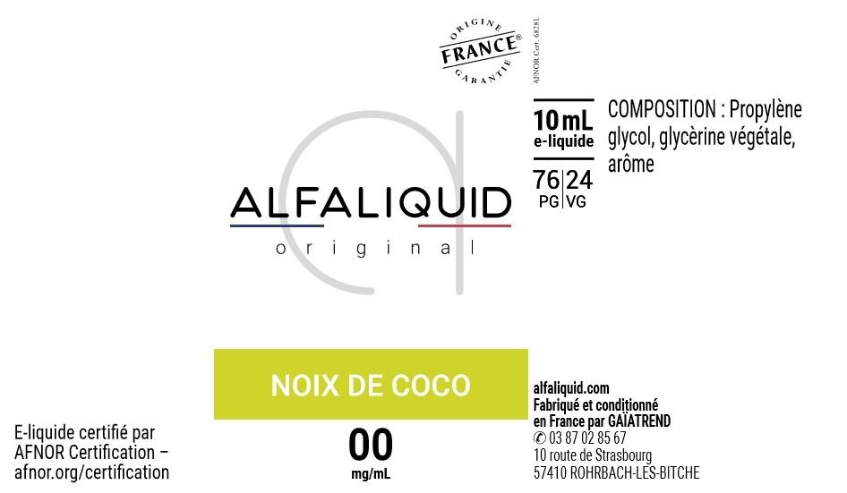 E-Liquide Noix de Coco 10ml - Original Fruitée | Alfaliquid étiquette 0 mg