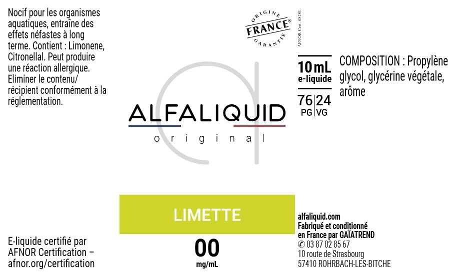 E-Liquide LIMETTE 10ml - Original Fruitée | Alfaliquid étiquette 0 mg