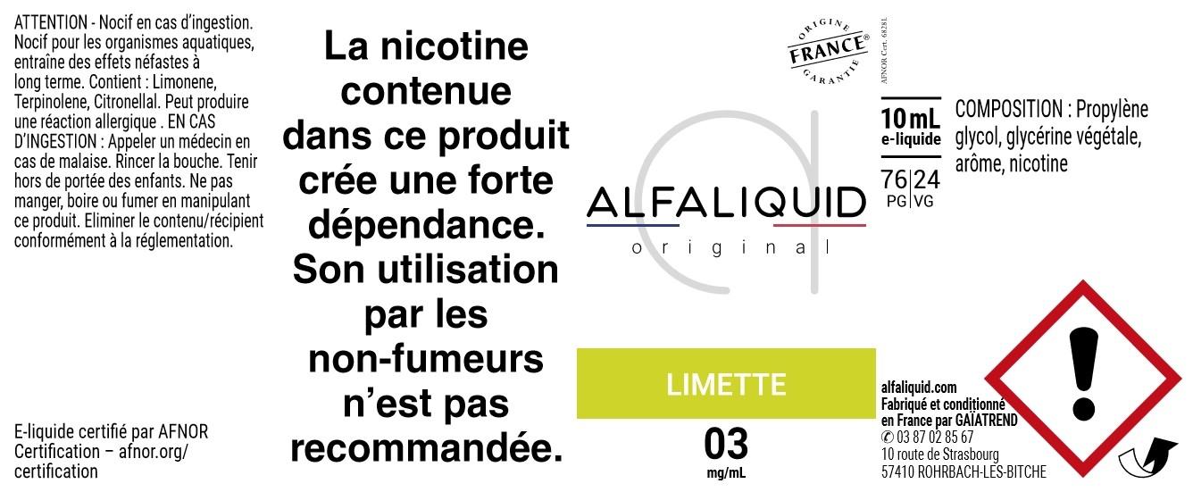 E-Liquide LIMETTE 10ml - Original Fruitée | Alfaliquid étiquette 3 mg