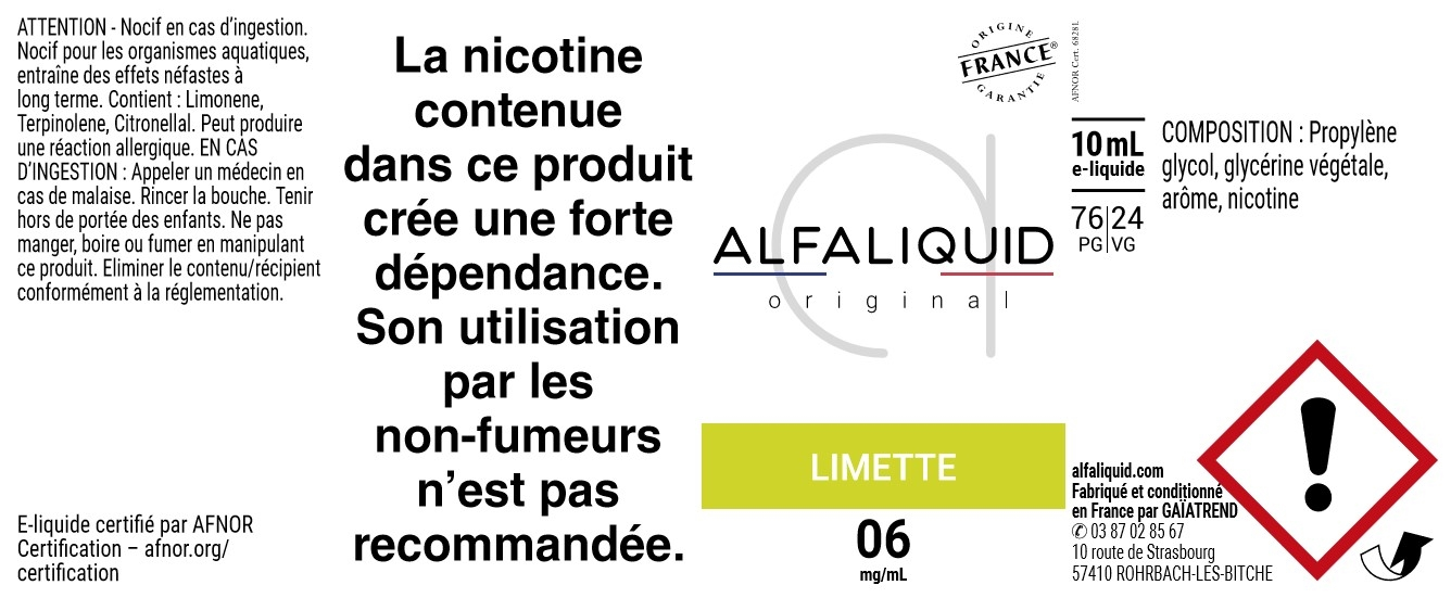 E-Liquide LIMETTE 10ml - Original Fruitée | Alfaliquid étiquette 6 mg