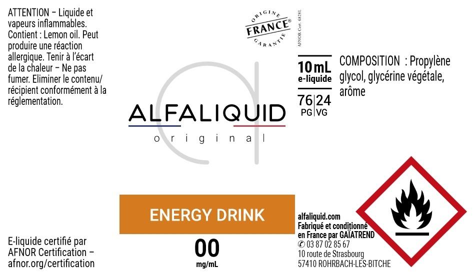 E-Liquide Energy drink 10ml - Original Gourmande | Alfaliquid étiquette 0 mg