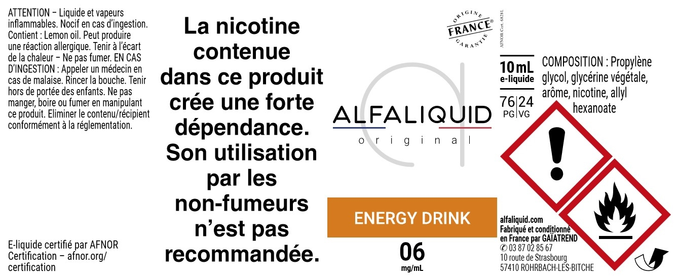 E-Liquide Energy drink 10ml - Original Gourmande | Alfaliquid étiquette 6 mg