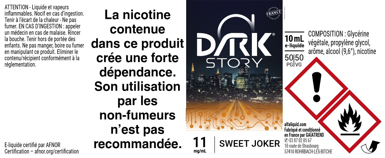 E-liquide SWEET JOKER 10ml - Dark Story   Alfaliquid étiquette 11 mg