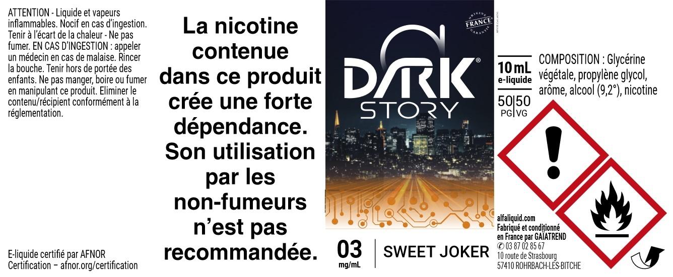 E-liquide SWEET JOKER 10ml - Dark Story   Alfaliquid étiquette 3 mg