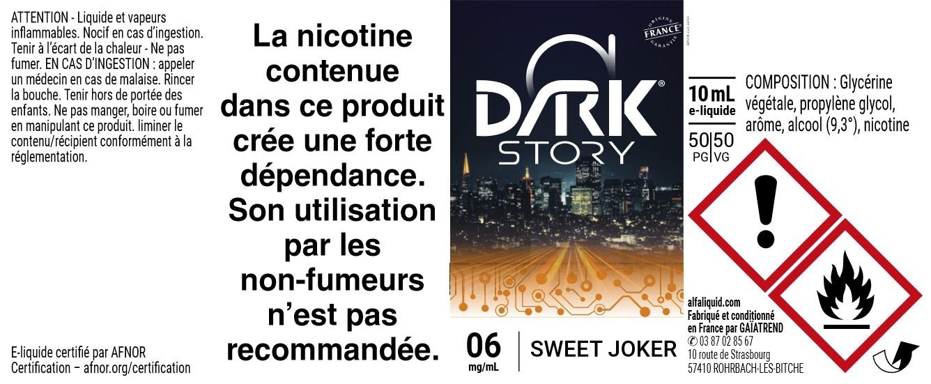 E-liquide SWEET JOKER 10ml - Dark Story   Alfaliquid étiquette 6 mg