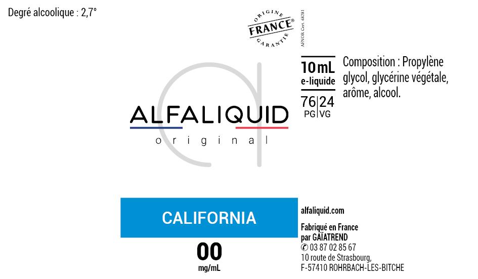 E-Liquide CALIFORNIA 10ml - Original Classique | Alfaliquid étiquette 0 mg