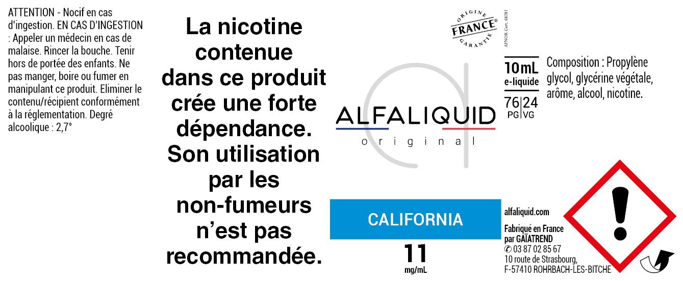 E-Liquide CALIFORNIA 10ml - Original Classique | Alfaliquid étiquette 11 mg