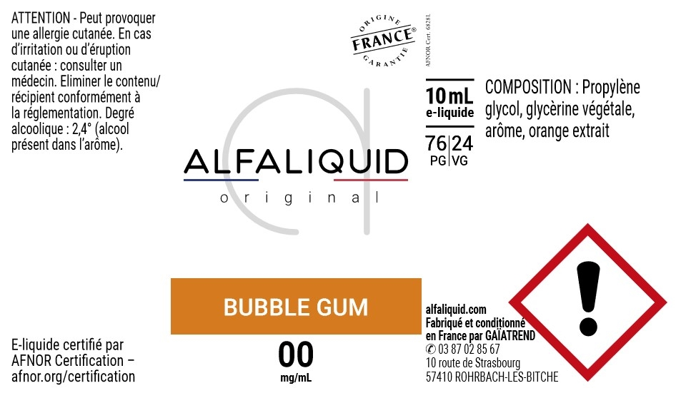E-Liquide Bubble Gum 10ml - Original Gourmande | Alfaliquid étiquette 0 mg