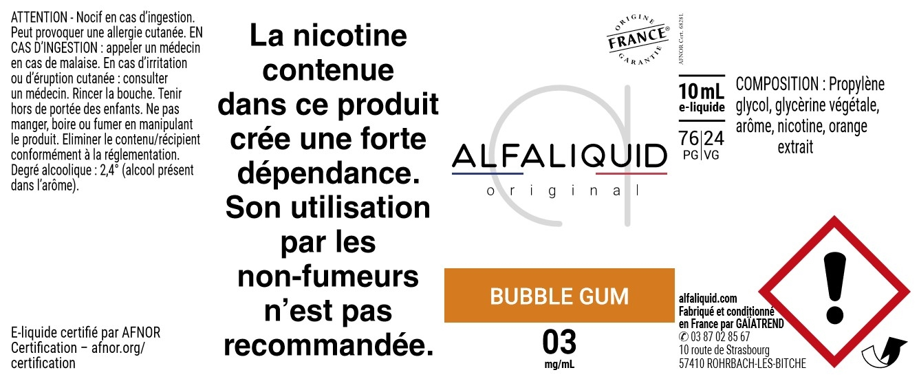 E-Liquide Bubble Gum 10ml - Original Gourmande | Alfaliquid étiquette 3 mg