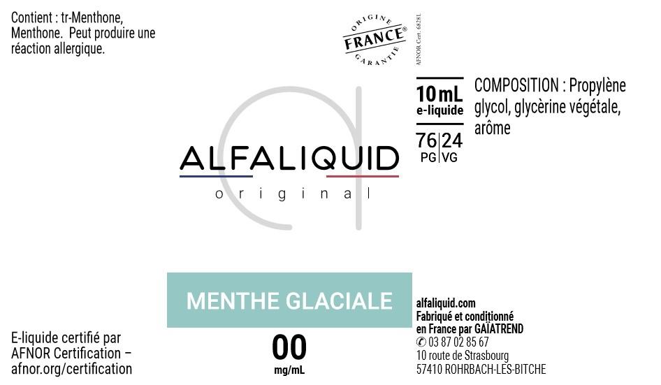 E-Liquide Menthe Glaciale 10ml - Original Fraicheur | Alfaliquid étiquette 0 mg