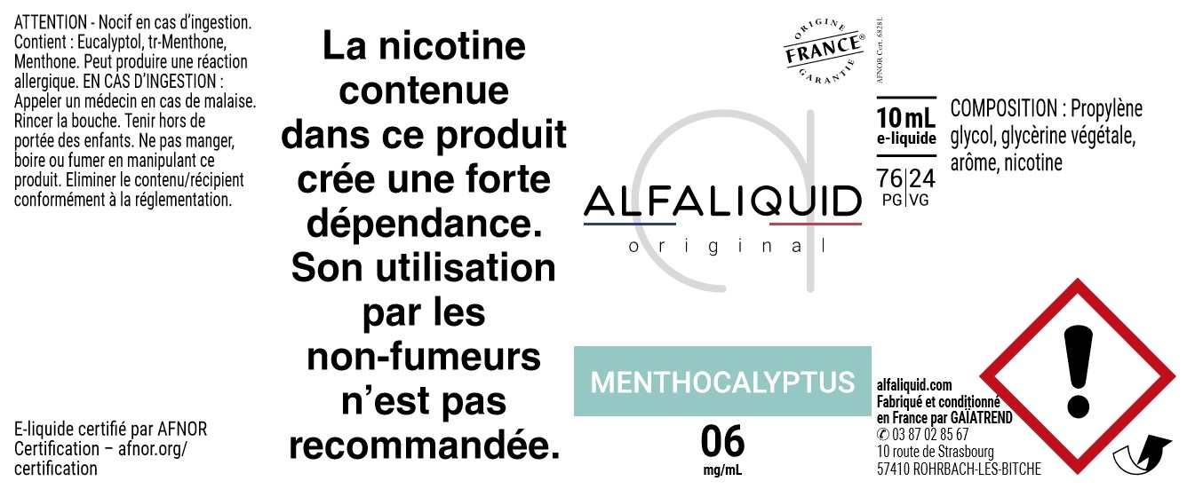 E-Liquide Menthocalyptus 10ml - Original Fraicheur | Alfaliquid étiquette 6 mg