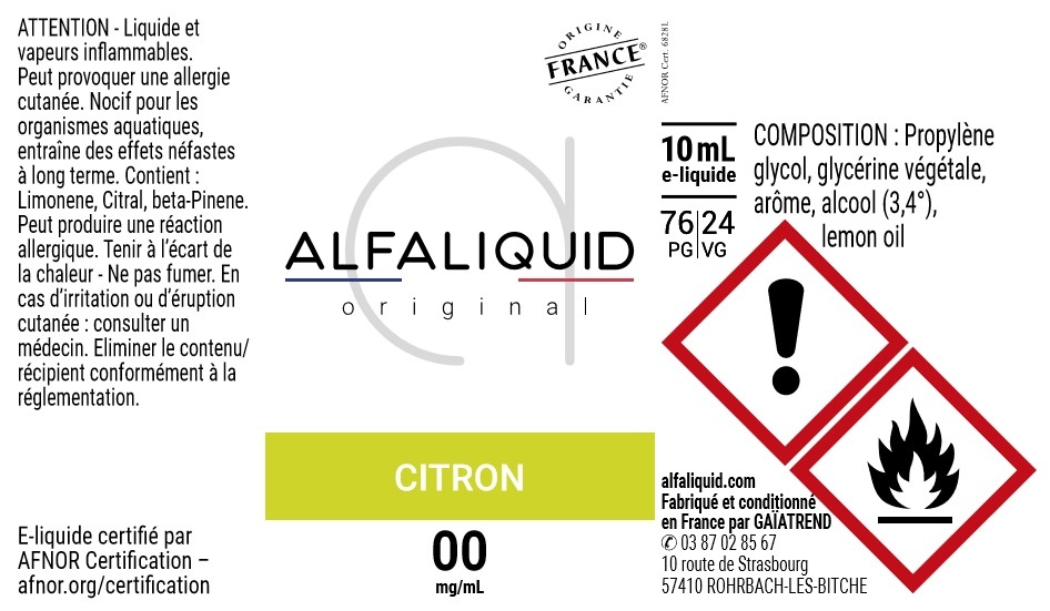 E-Liquide CITRON 10ml - Original Fruitée | Alfaliquid étiquette 0 mg