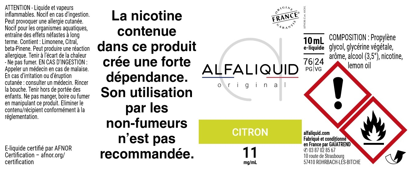 E-Liquide CITRON 10ml - Original Fruitée | Alfaliquid étiquette 11 mg