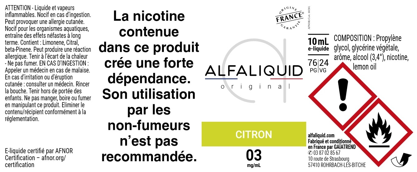 E-Liquide CITRON 10ml - Original Fruitée | Alfaliquid étiquette 3 mg
