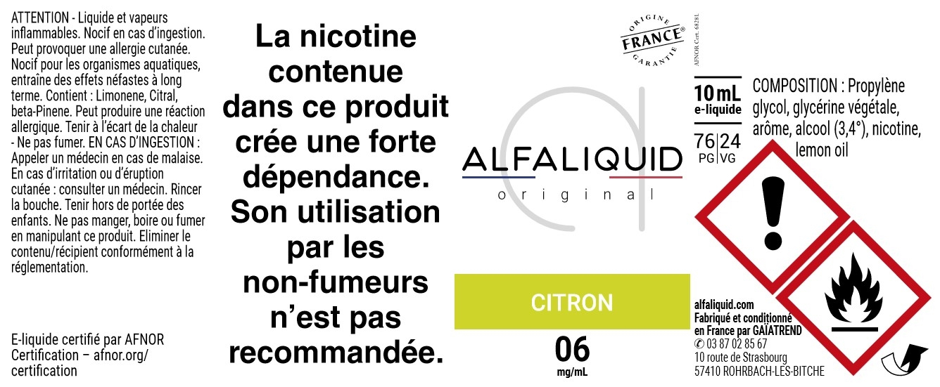 E-Liquide CITRON 10ml - Original Fruitée | Alfaliquid étiquette 6 mg
