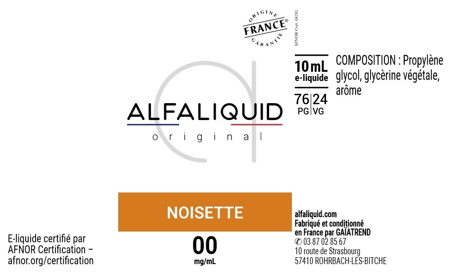 E-Liquide NOISETTE 10ml - Original Gourmande | Alfaliquid étiquette 0 mg