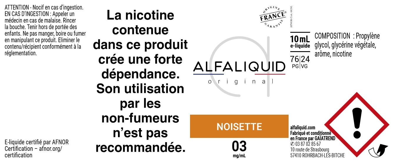 E-Liquide NOISETTE 10ml - Original Gourmande | Alfaliquid étiquette 3 mg