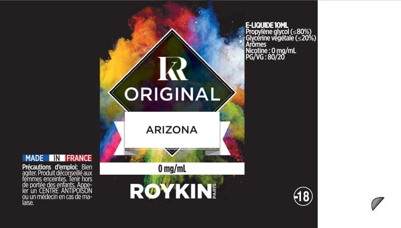 E-Liquide Arizona 10ml 80/20 - Original | Roykin étiquette 0 mg