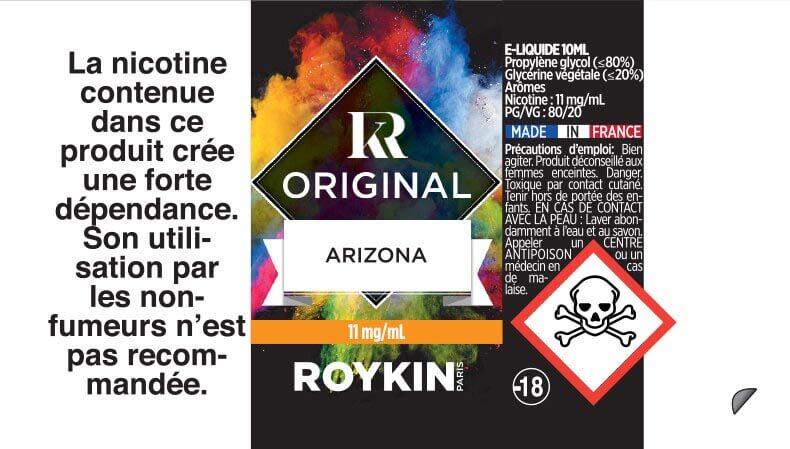 E-Liquide Arizona 10ml 80/20 - Original | Roykin étiquette 11 mg