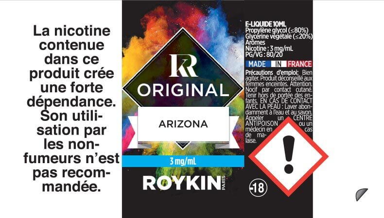 E-Liquide Arizona 10ml 80/20 - Original | Roykin étiquette 3 mg