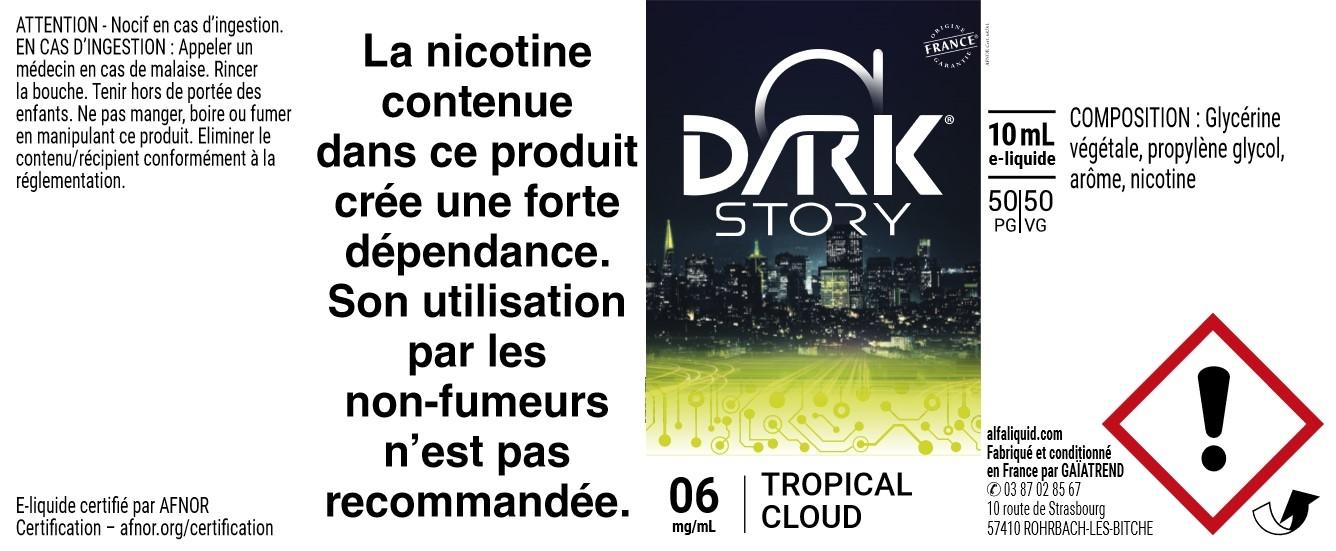 E-Liquide TROPICAL CLOUD 10ml - Dark Story | Alfaliquid étiquette 6 mg
