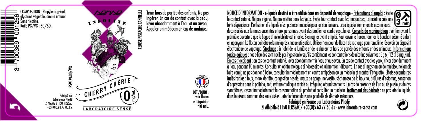 E-LIQUIDE CHERRY CHERIE 10ML 50/50 - SENSE Insolite étiquette 0 mg