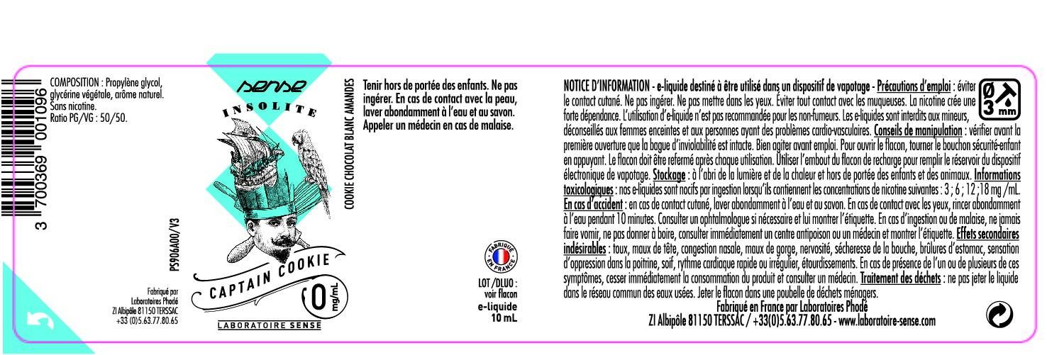 E-LIQUIDE CAPTAIN COOKIE 10ML 50/50 - SENSE Insolite étiquette 0 mg