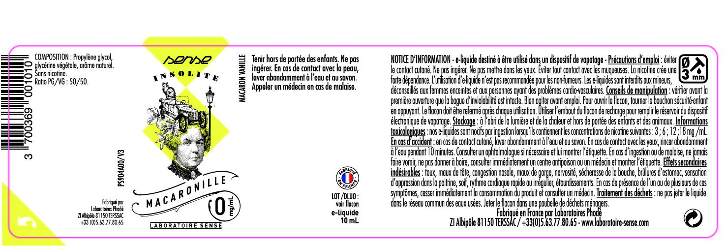 E-LIQUIDE MACARONILLE 10ML 50/50 - SENSE Insolite étiquette 0 mg