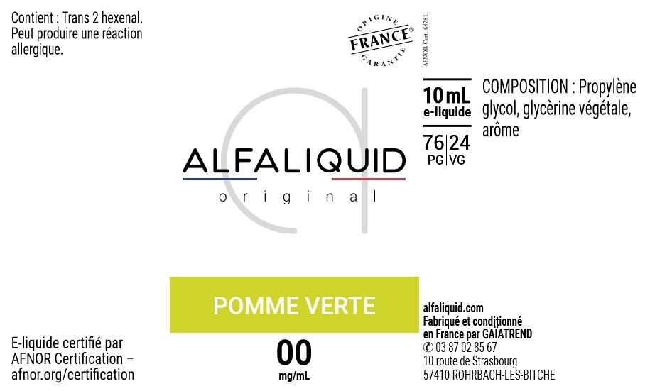E-Liquide POMME VERTE 10ml - Original Fruitée   Alfaliquid étiquette 0 mg