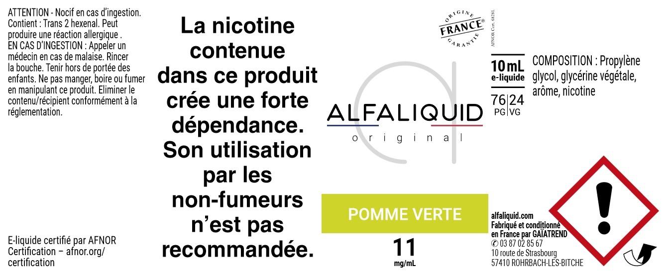 E-Liquide POMME VERTE 10ml - Original Fruitée   Alfaliquid étiquette 11 mg