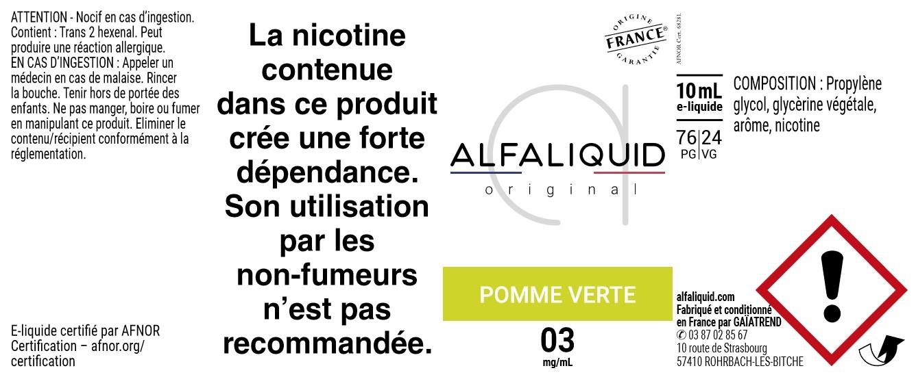 E-Liquide POMME VERTE 10ml - Original Fruitée   Alfaliquid étiquette 3 mg