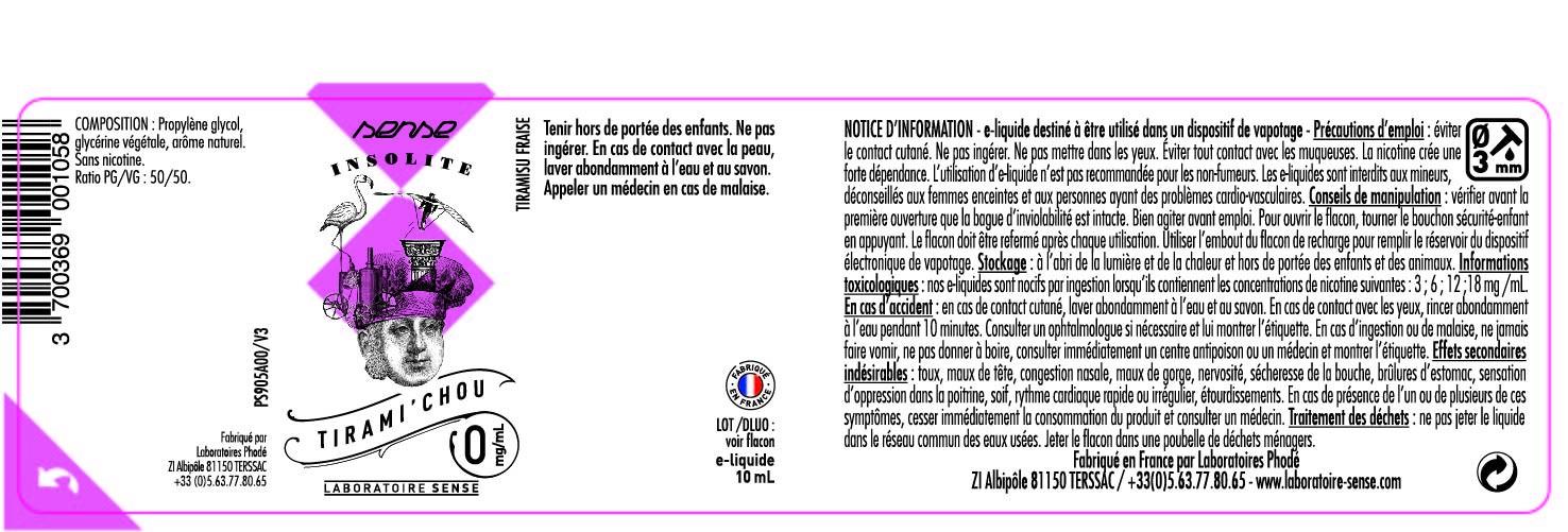 E-LIQUIDE TIRAMI'CHOU 10ML 50/50 - SENSE Insolite étiquette 0 mg