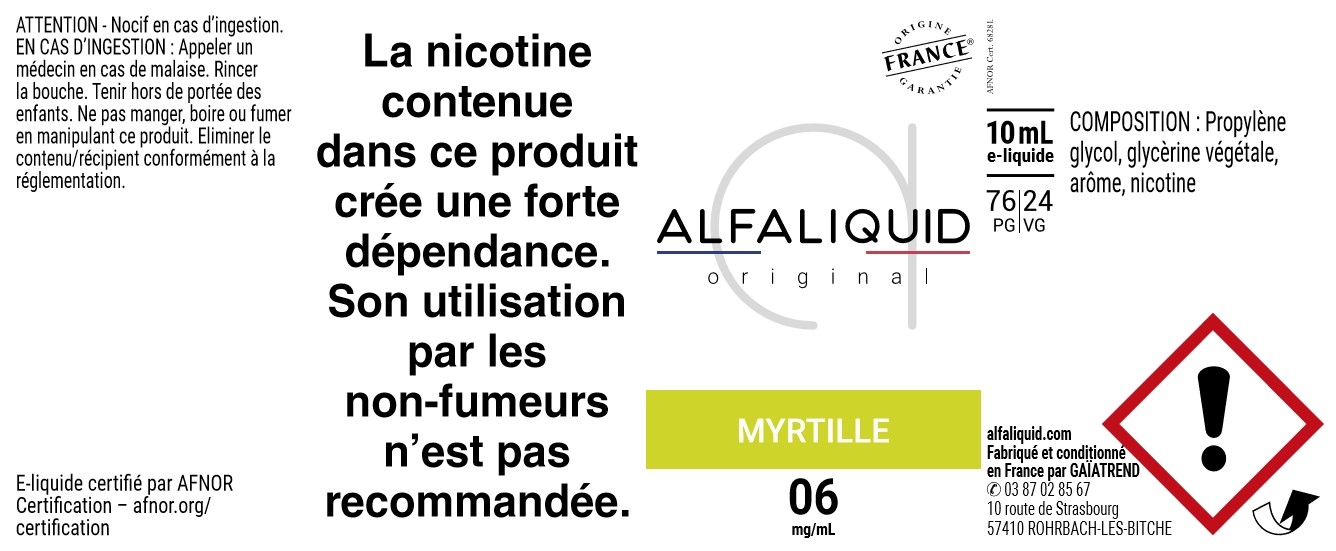 E-Liquide Myrtille 10ml - Original Fruitée | Alfaliquid étiquette 6 mg