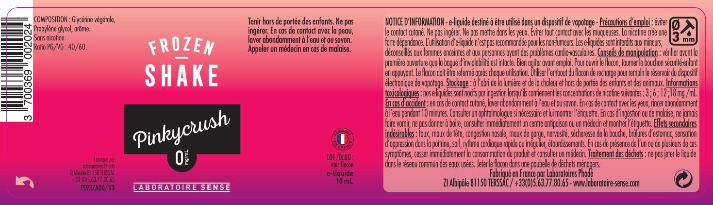E-Liquide PINKYCRUCH 10ml - FROZEN SHAKE | SENSE étiquette 0 mg