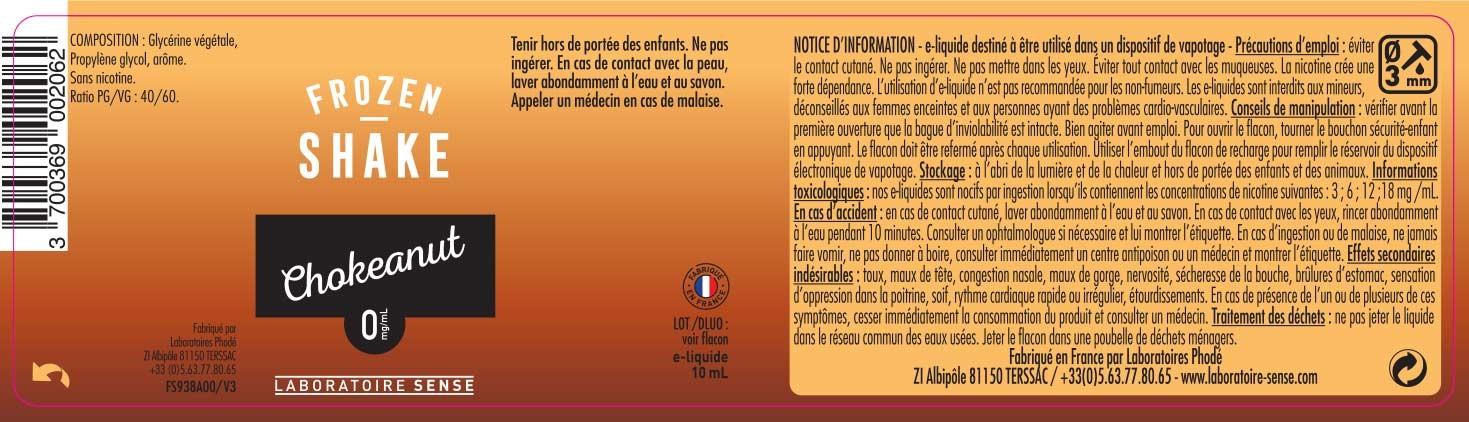 E-Liquide CHOKEANUT 10ml - Frozen Shake | SENSE étiquette 0 mg