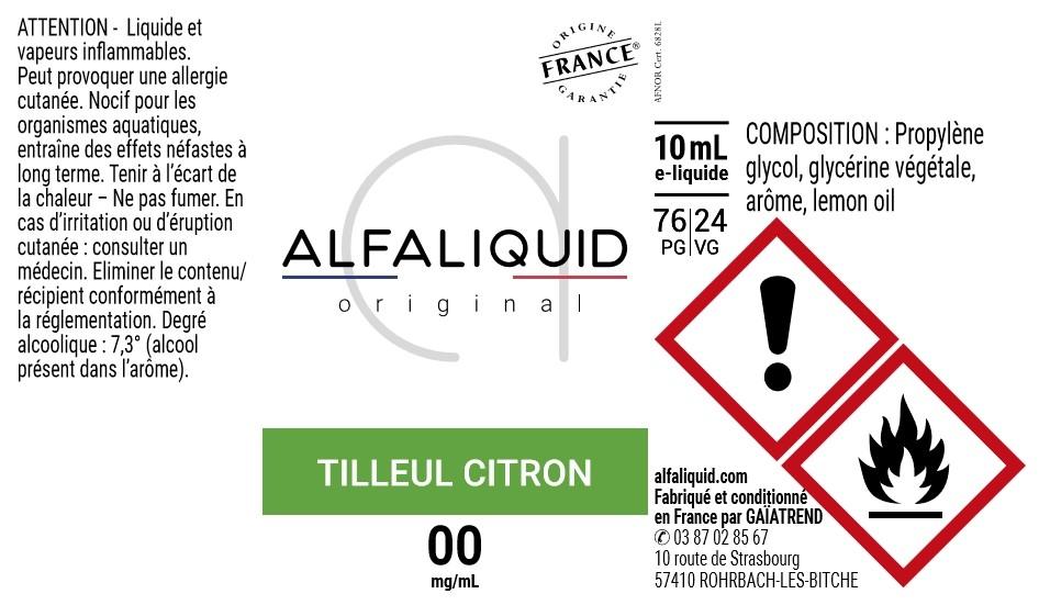 E-Liquide TILLEUL CITRON 10ml - Original Équilibre | Alfaliquid étiquette 0 mg