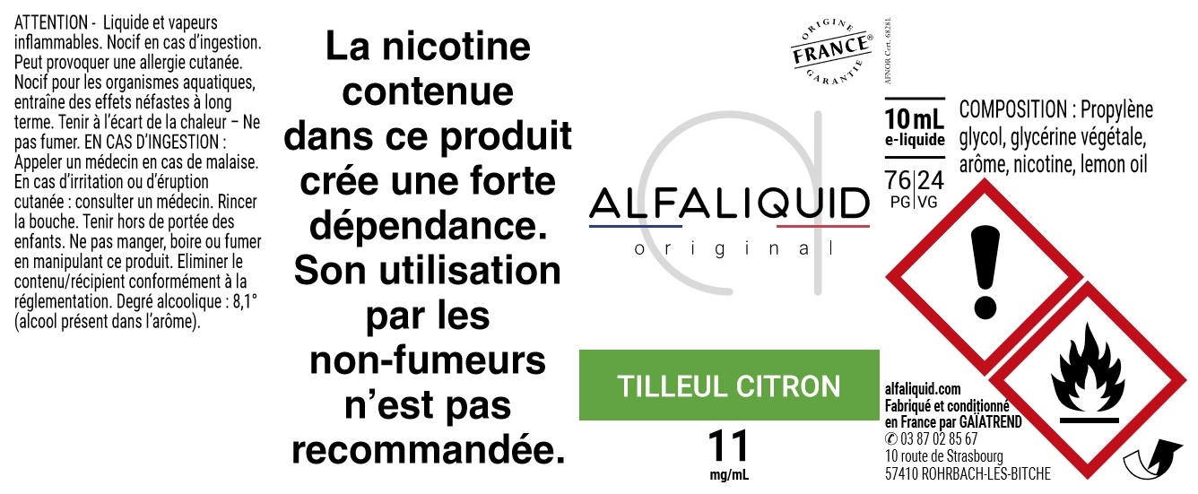 E-Liquide TILLEUL CITRON 10ml - Original Équilibre | Alfaliquid étiquette 11 mg