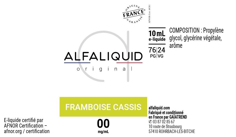 E-Liquide FRAMBOISE CASSIS 10ml - Original Fruitée | Alfaliquid étiquette 0 mg
